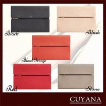 CUYANA A4 Plain Leather Office Style Logo Bags