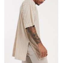 ASOS Crew Neck Pullovers Stripes Street Style Short Sleeves