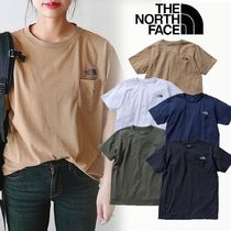 THE NORTH FACE Crew Neck Unisex Plain Short Sleeves Logo Crew Neck T-Shirts
