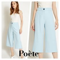 Poete Casual Style Plain Icy Color Culottes