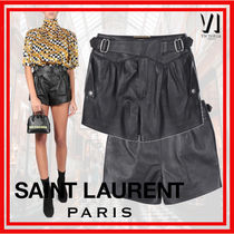 Saint Laurent Short Leather Leather & Faux Leather Shorts