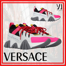VERSACE Leather Logo Low-Top Sneakers