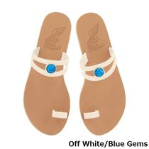 ANCIENT GREEK SANDALS Open Toe Casual Style Plain Leather Party Style With Jewels