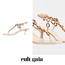CULT GAIA Open Toe Casual Style Plain Leather Elegant Style
