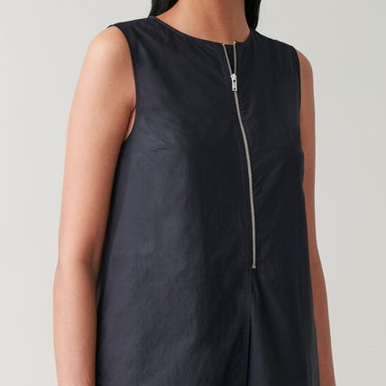 Crew Neck Casual Style A-line Sleeveless Flared Plain Cotton