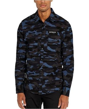 Camouflage Street Style Long Sleeves Cotton Logo Shirts