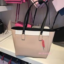 kate spade new york CAMERON STREET A4 Bi-color Leather Office Style Elegant Style Totes