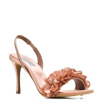 TABITHA SIMMONS Flower Patterns Open Toe Blended Fabrics Leather Pin Heels