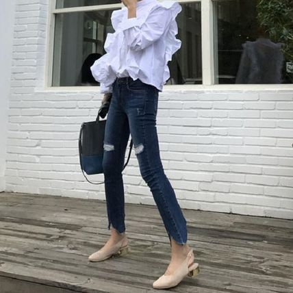 Lace-up Casual Style Peplum Dolman Sleeves Street Style