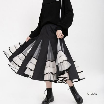 Flared Skirts Casual Style Chiffon Pleated Skirts