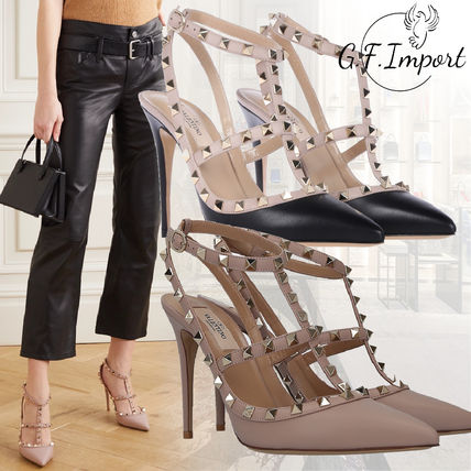 VALENTINO Rubber Sole Studded Pin Heels Party Style Elegant Style