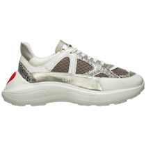 Love Moschino Faux Fur Street Style Plain Leather Logo Low-Top Sneakers
