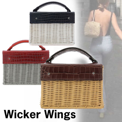 2WAY Leather Straw Bags