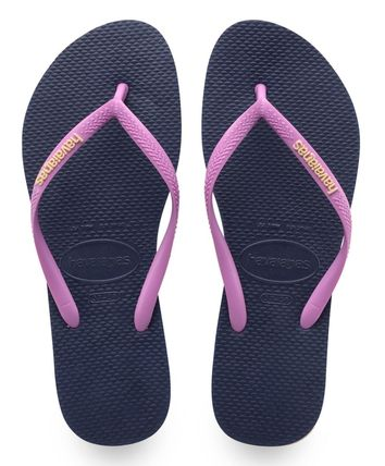 Open Toe Rubber Sole Casual Style Plain Flip Flops Logo