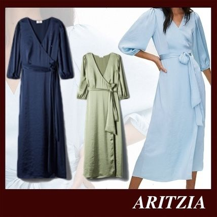 Casual Style Maxi V-Neck Long Sleeves Plain Long Party Style