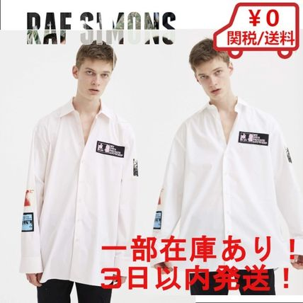 Street Style Long Sleeves Plain Cotton Oversized Logo