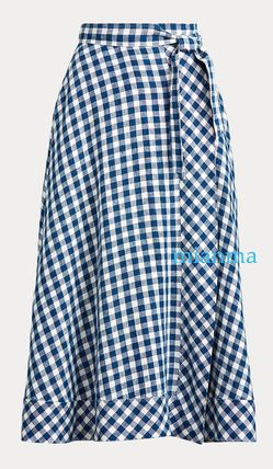 Ralph Lauren Flared Skirts Gingham Casual Style Linen Long Party Style