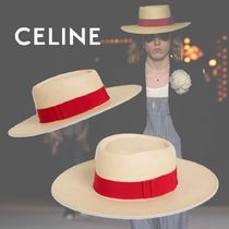 CELINE Street Style Straw Boaters Straw Hats