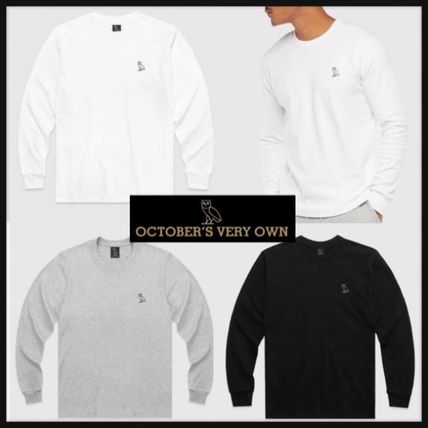 OCTOBERS VERY OWN Long Sleeve Crew Neck Unisex Street Style Long Sleeves Plain Cotton