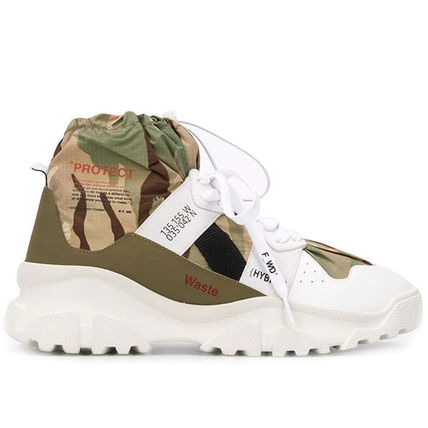 Camouflage Street Style Leather Logo Sneakers