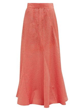 Flared Skirts Gingham Casual Style Maxi Long Maxi Skirts