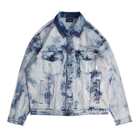 Short Denim Street Style Tie-dye Denim Jackets Jackets