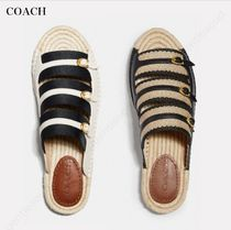 Coach Open Toe Platform Lace-up Casual Style Footbed Sandals
