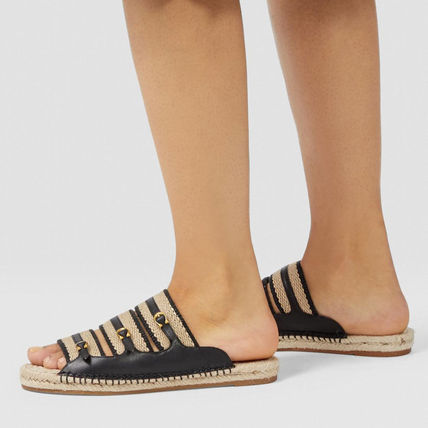 Open Toe Casual Style Plain Leather Footbed Sandals Logo
