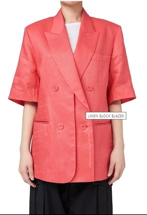 Casual Style Oversized Icy Color Jackets