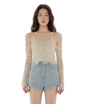 Short Casual Style Street Style Long Sleeves Lace Cropped
