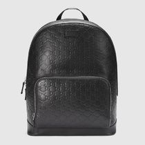 GUCCI Gucci Signature Leather Monogram Unisex Leather Backpacks
