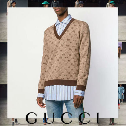 GUCCI Sweaters Wool Street Style V-Neck Long Sleeves Cotton Logo Luxury
