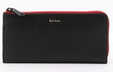 Paul Smith Stripes Unisex Plain Leather Long Wallet  Logo Long Wallets