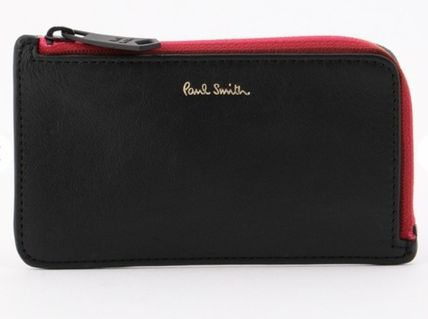 Paul Smith Stripes Unisex Plain Leather Long Wallet  Logo Card Holders