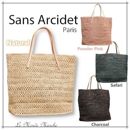Blended Fabrics A4 Plain Leather Handmade Logo Straw Bags