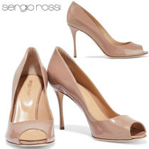 Sergio Rossi Open Toe Enamel Plain Leather Party Style Elegant Style