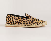 Warehouse Leopard Patterns Casual Style Leather Flats
