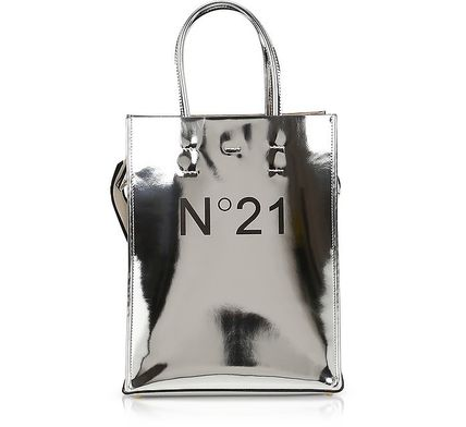 Casual Style 2WAY Leather Logo Metallic Totes