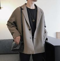 Short Street Style Plain Oversized Front Button