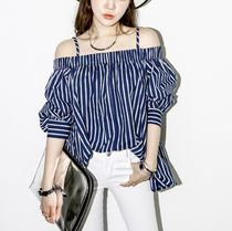 Stripes Casual Style Medium Off the Shoulder