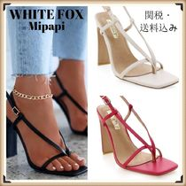WHITE FOX Open Toe Lace-up Casual Style Plain Heeled Sandals