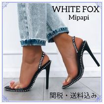WHITE FOX Open Toe Casual Style Blended Fabrics Studded Street Style