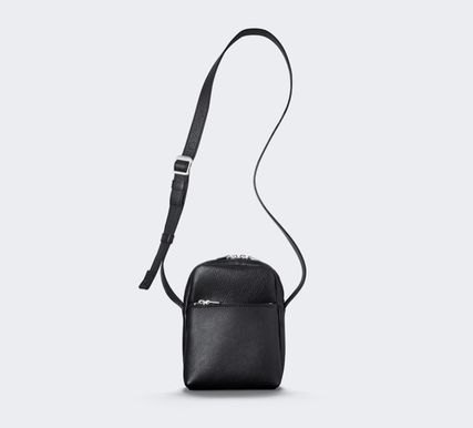 Casual Style Unisex Plain Leather Party Style Crossbody