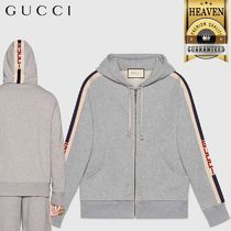 GUCCI Hooded Zip-Up Sweatshirt With Gucci Stripe