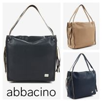 Abbacino Casual Style A4 Plain Leather Office Style Totes