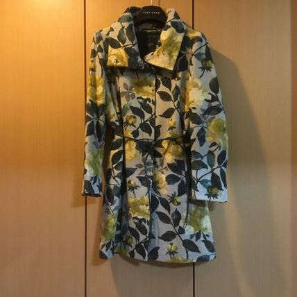 Weekend Max Mara Stand Collar Coats Flower Patterns Dots Casual Style Wool