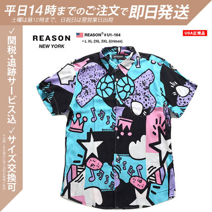 REASON Shirts Other Plaid Patterns Heart Star Unisex Street Style