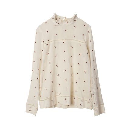 Flower Patterns Casual Style Long Sleeves Cotton