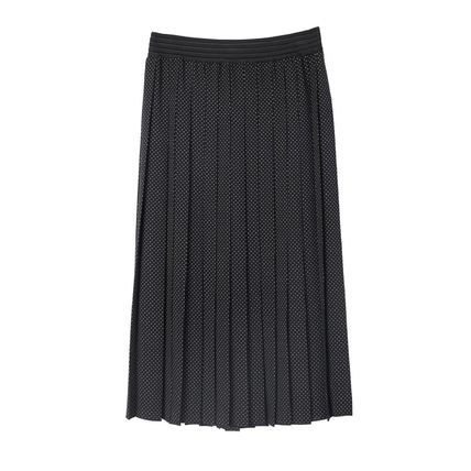 Dots Casual Style Pleated Skirts Party Style Office Style