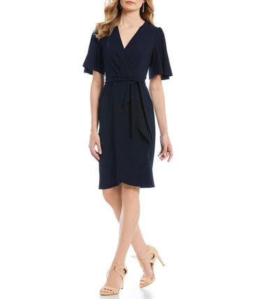 Donna Morgan Casual Style Plain Short Sleeves Elegant Style Dresses